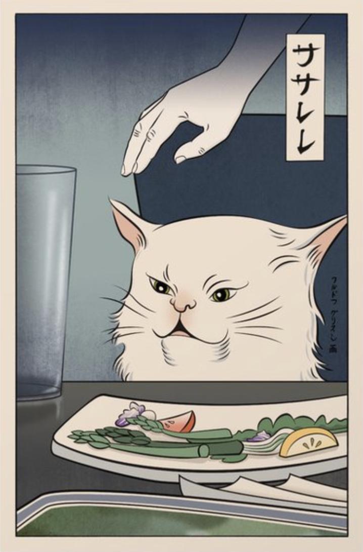 Woman Yelling At Cat Japanese Wall Art Cat Art Art