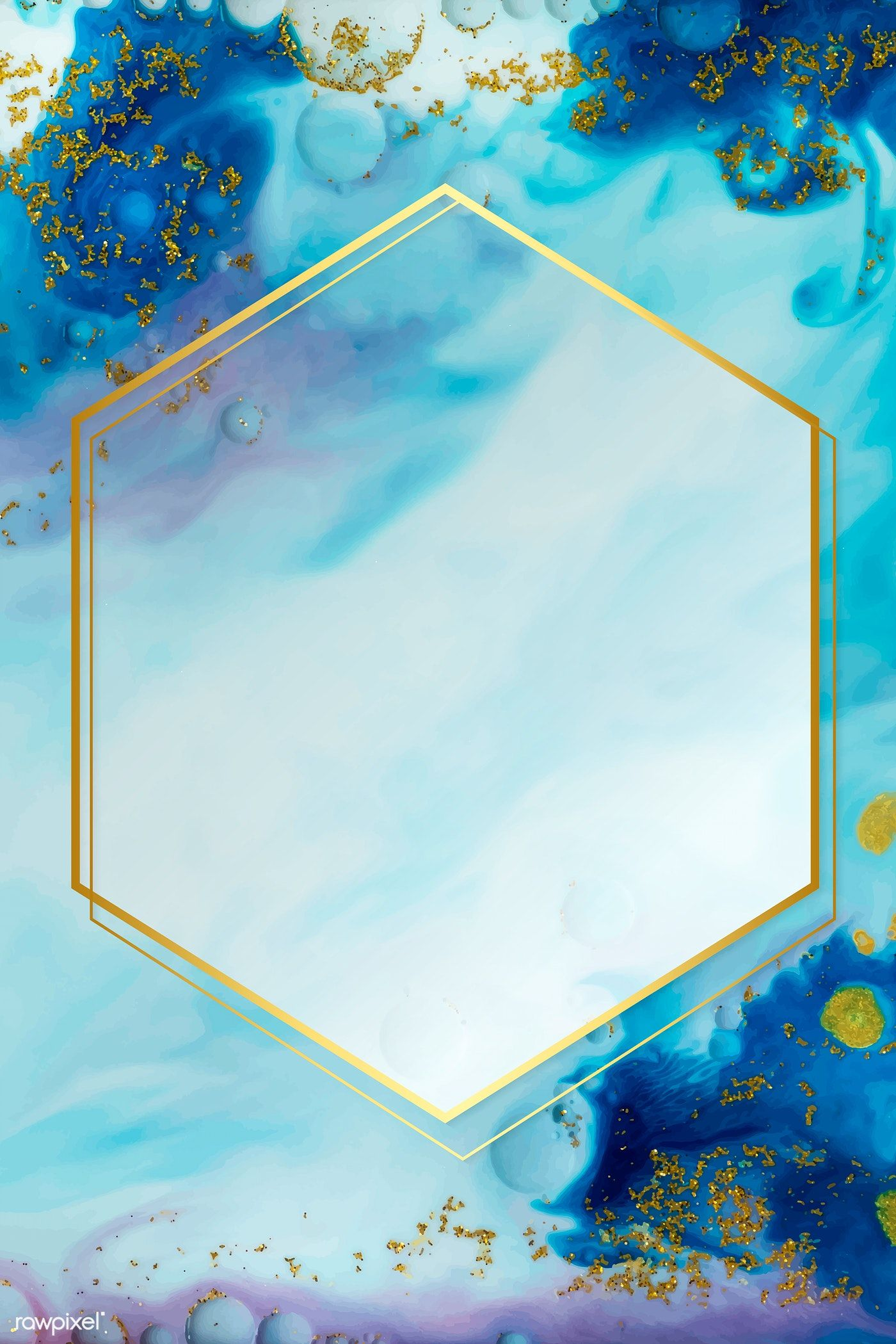 Hexagon gold frame on abstract blue watercolor vector