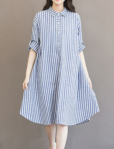 cd4e9be4487 Women s Fine Stripe Plus Size Going out Casual Daily Vintage Simple Cute Loose  Dress