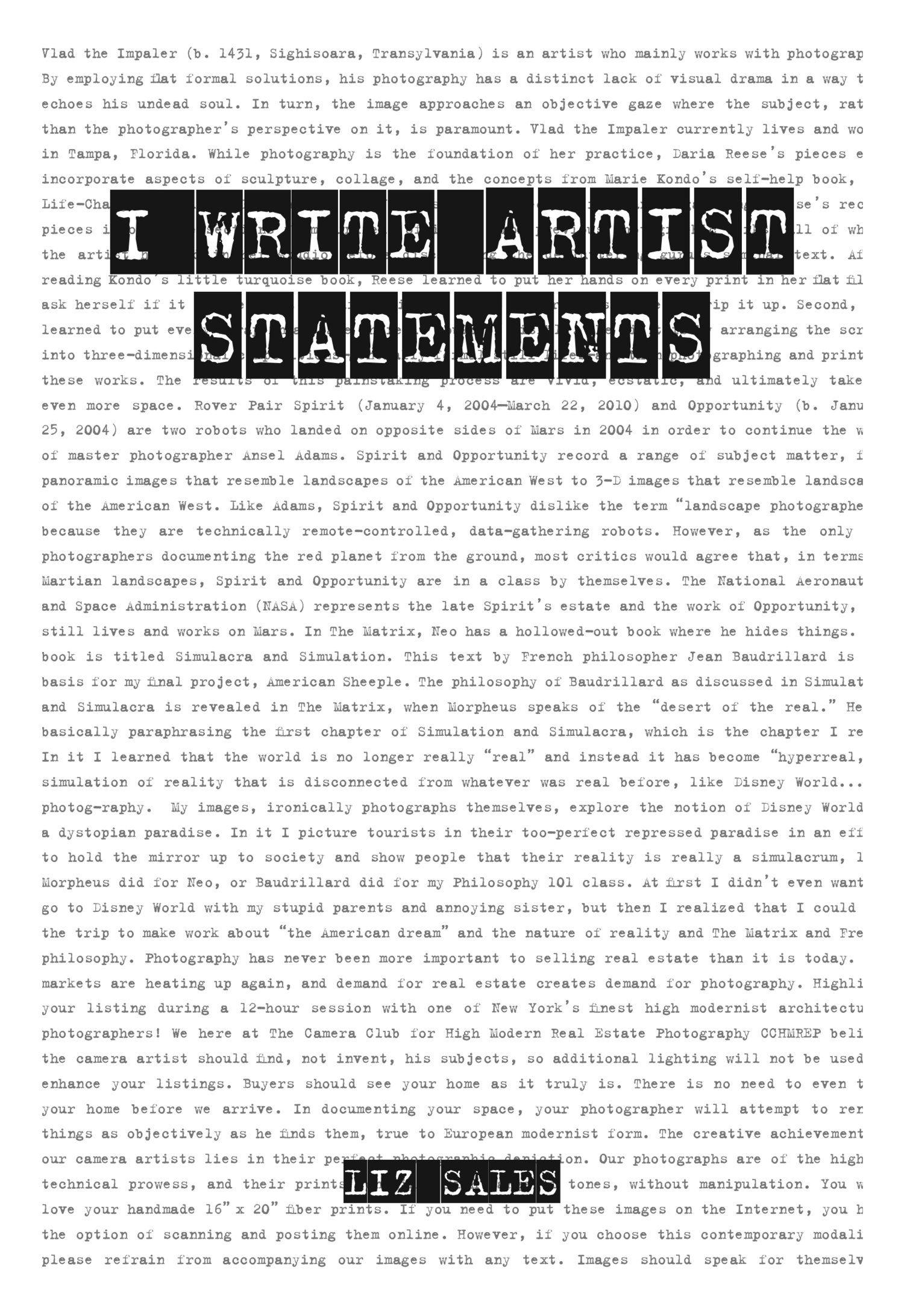 Book Review I Write Artist Statements Artist statement