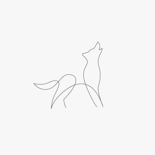 One line wolf tattoo. Fine line tattoo.