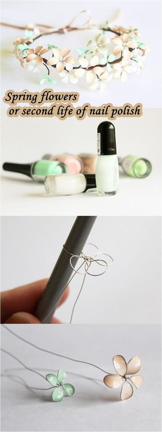 Spring Flowers Or Second Life Of Nail Polish Craft How Tos Diy