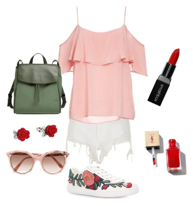 """""""rose"""" by karlapacheco-mor on Polyvore featuring River Island, Gucci, BB Dakota, Skagen, Victoria Beckham and Smashbox"""