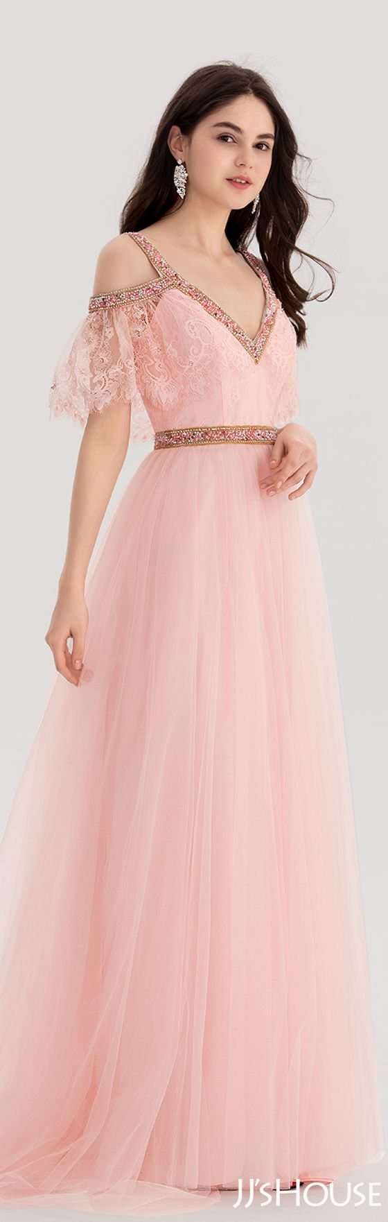 Alineprincess vneck sweep train lace prom dresses with beading