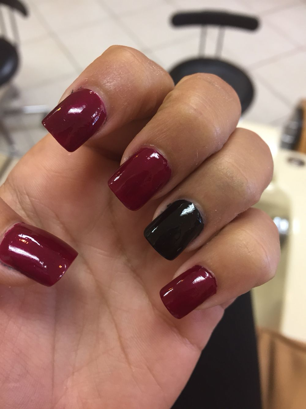 Maroon and black acrylic nails | hair, makeup, and nails | Pinterest ...