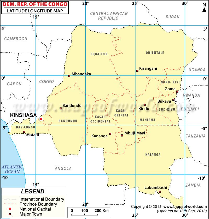 Democratic Republic of Congo Latitude and Longitude Map