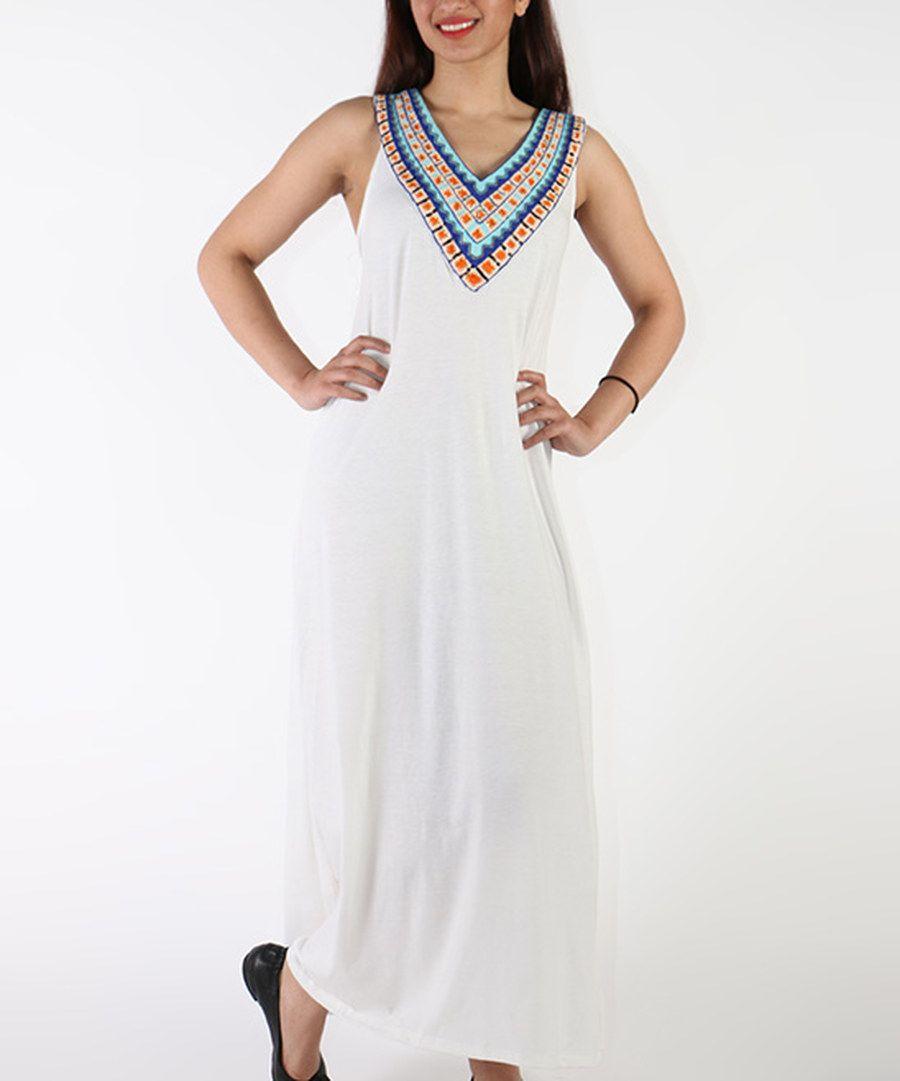 Look at this shoreline white embellishedyoke maxi dress plus on