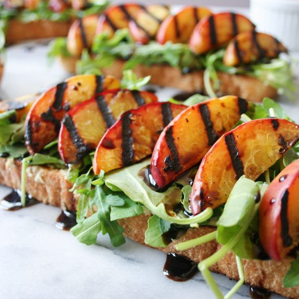 Grilled peach toast with almond ricotta & balsamic drizzle