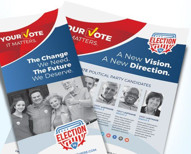 Election Posters, Flyers, Brochures - Design Sample Direct mail