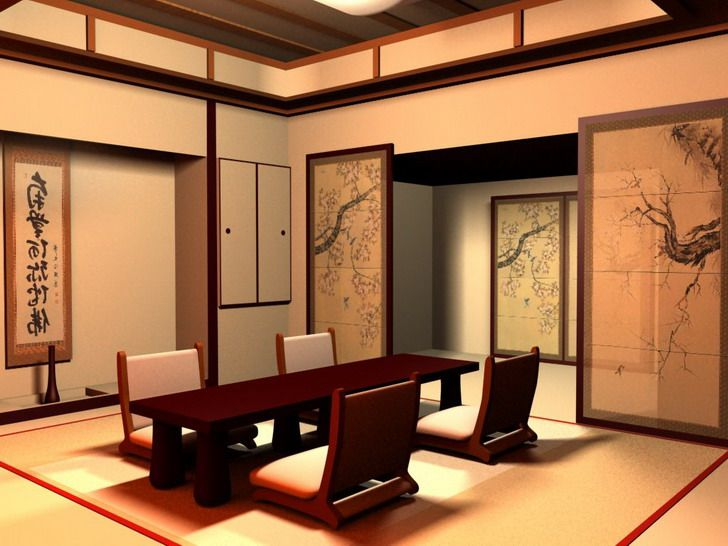 asian living room furniture - Red Japanese Room Wall Decor