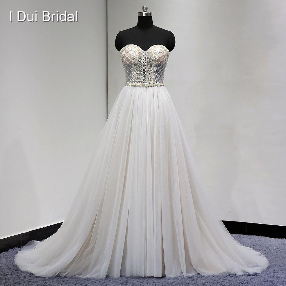 Rhinestone wedding dresses   Luxury Beaded Wedding Dress with Champagne Lining Pearl Crystal