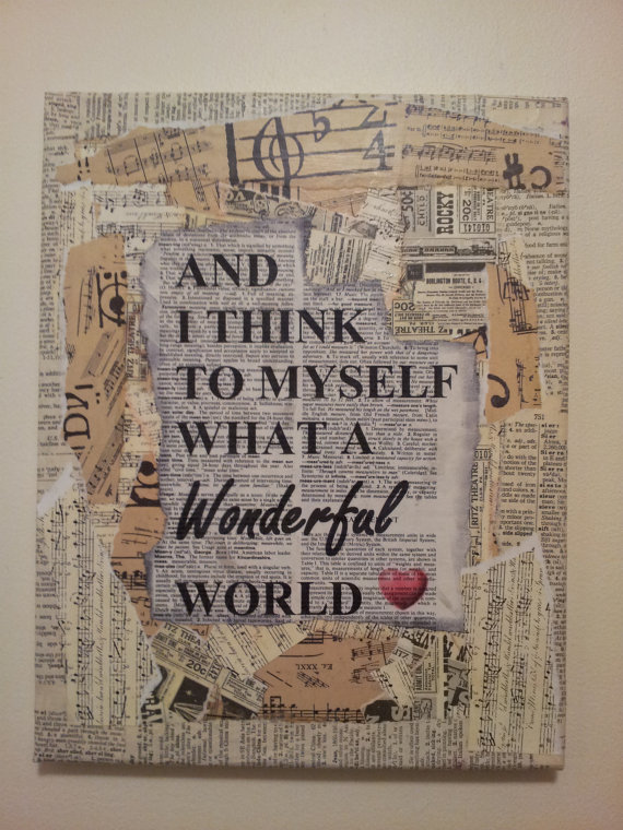 mixed media canvas what a wonderful world by calicocanvas on etsy 2000