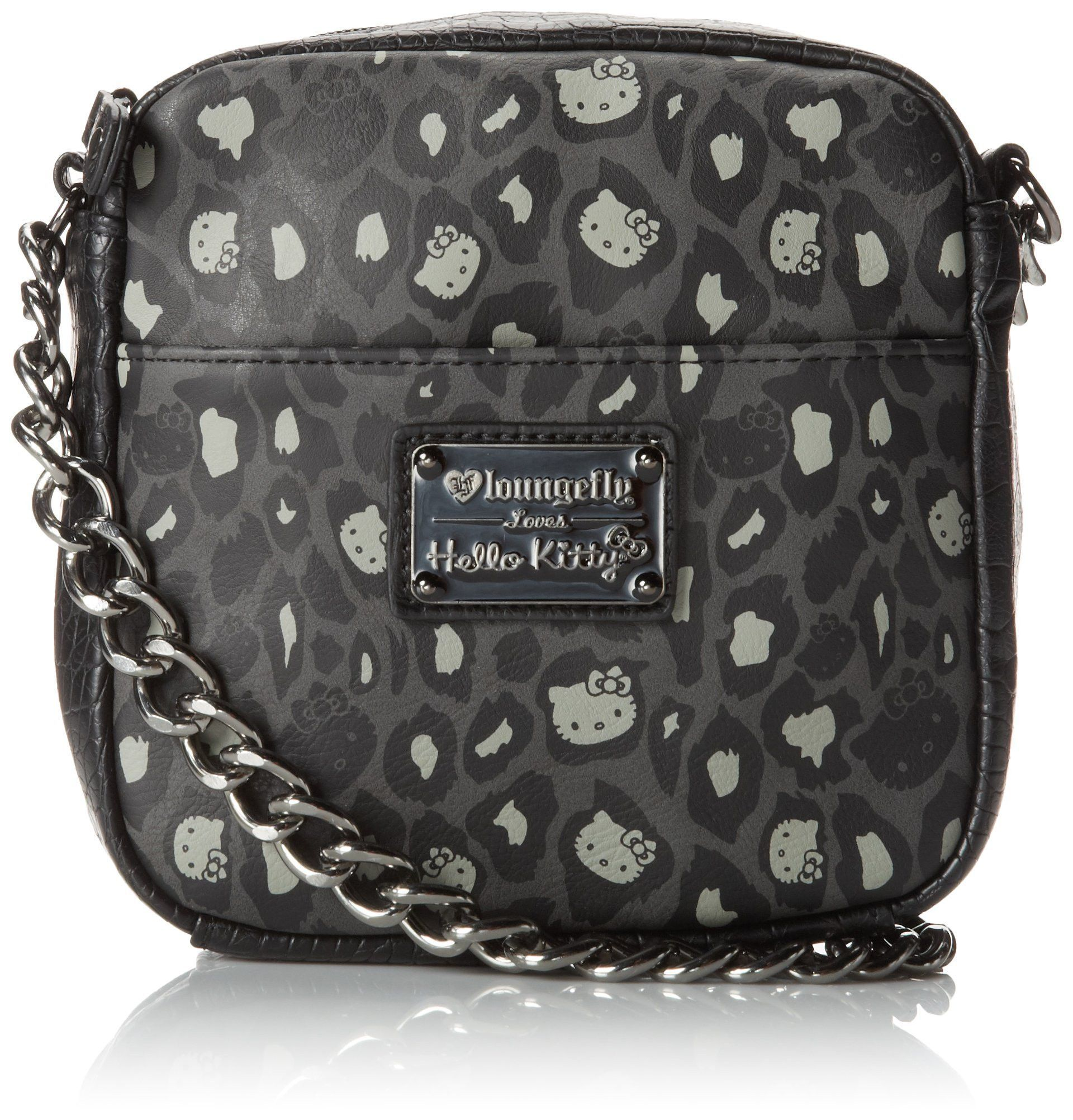 790a48d16d57 Hello Kitty Hello Kitty Black Grey Leopard Print Chain Cross Body ...