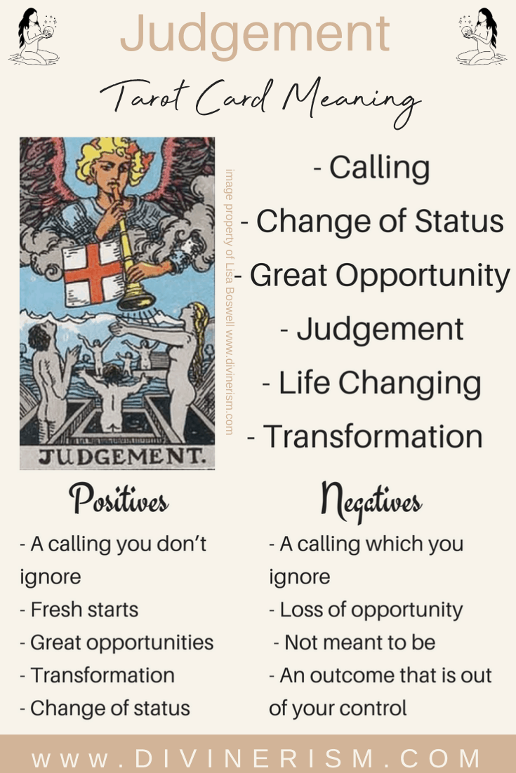 8 Judgement Tarot Meanings Love Outcomes Feelings More Divinerism In 2021 Tarot Meanings Tarot Card Meanings Tarot Cards For Beginners