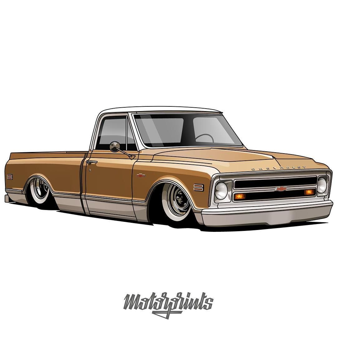 Motorprints On Instagram Chevrolet C10 Owner Fourdoorphill Order Illustration Of Your Car Write Me In Direct Message Or Emai Truck Art Car Drawings Car