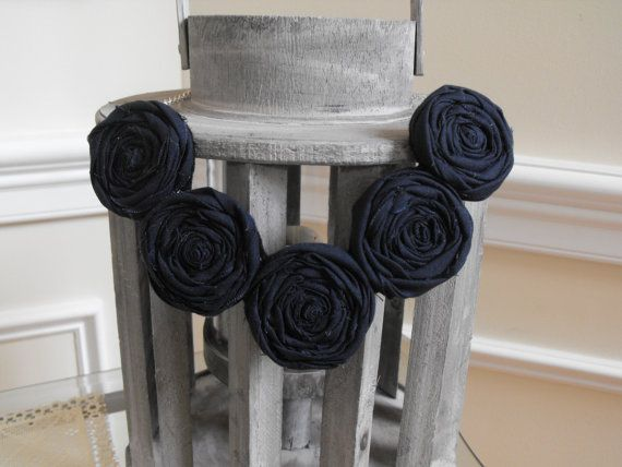 Rosette Necklace Fabric Roses Necklace by JessieKateDesigns, $25.00