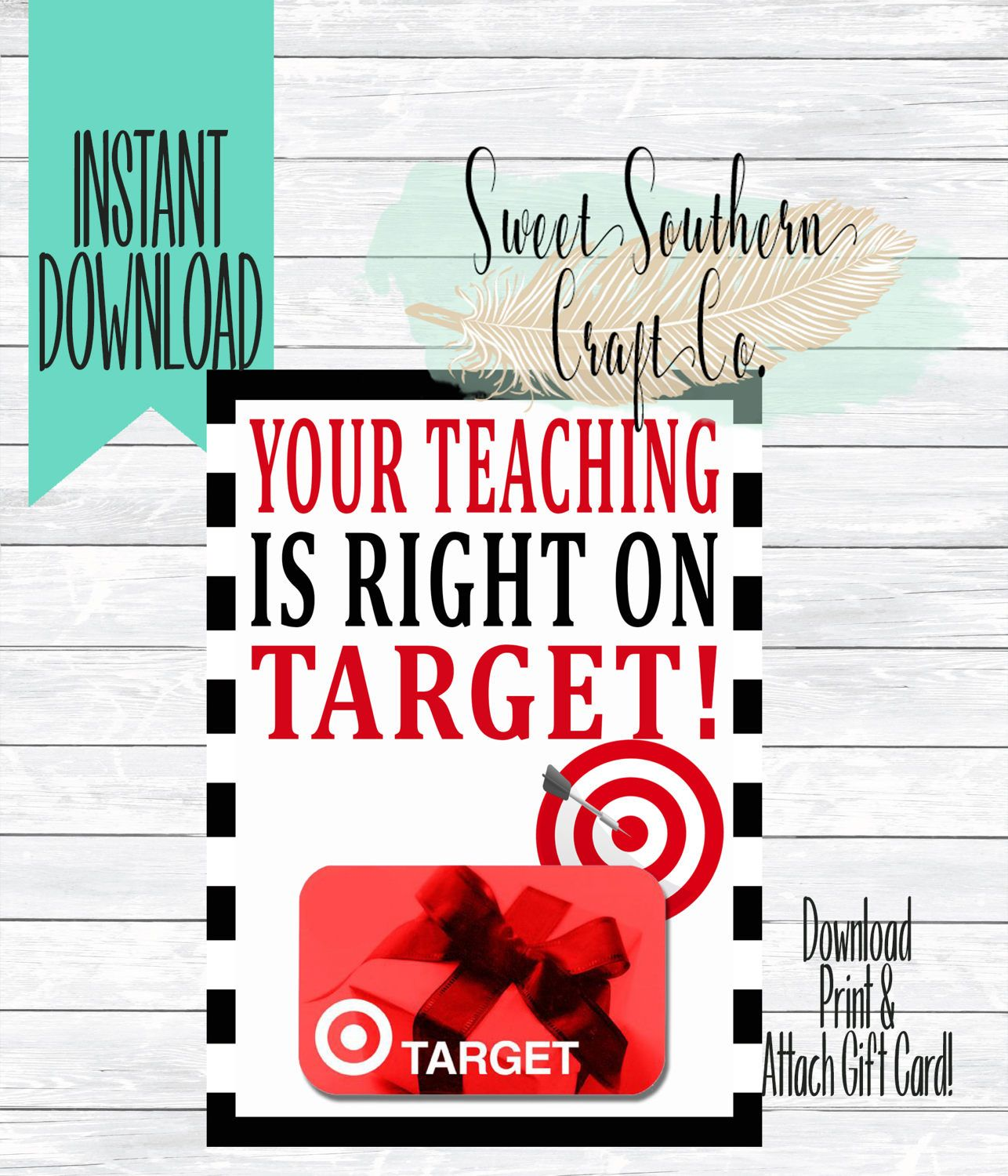 INSTANT DOWNLOAD***Your Teaching Is Right On Target!Target Gift Card ...