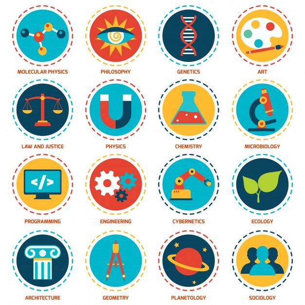 science areas icons set with molecular physics philosophy genetics rh pinterest com free vector science images free vector science icons