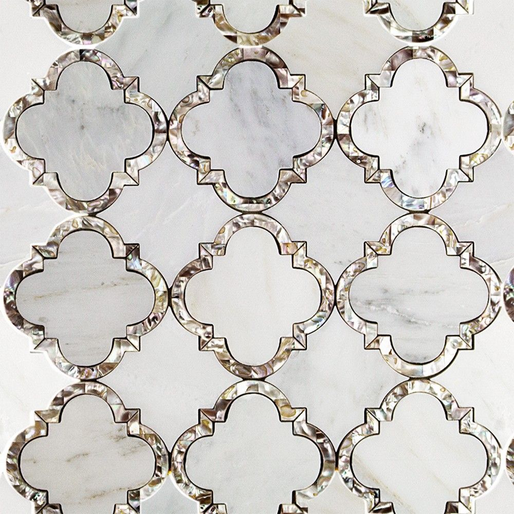 Gorgeous mother of pearl and marble mosaic tile designed by Cassie ...