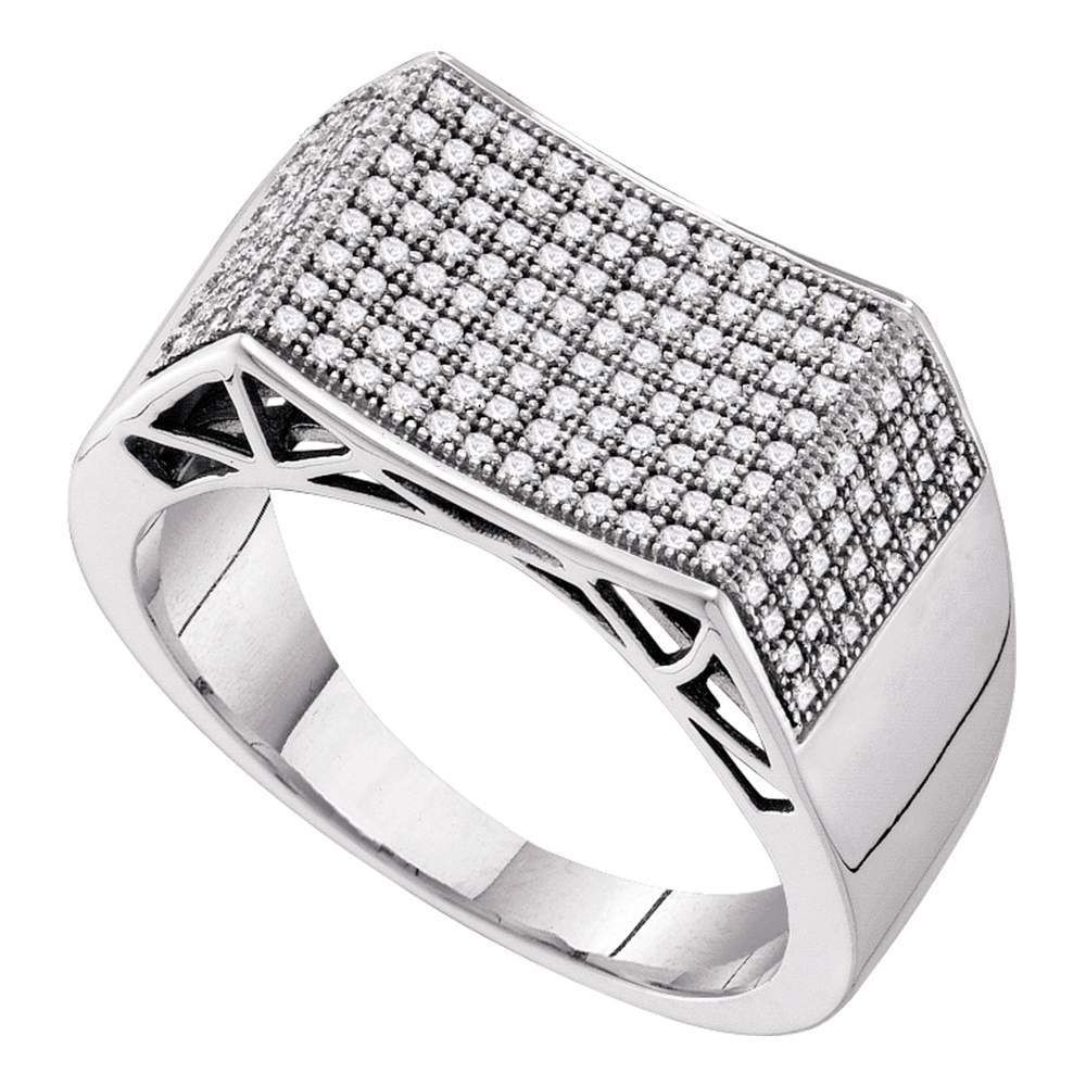 10kt White Gold Mens Round Pave Set Diamond Rectangle Concave Cluster Ring 1 2 Cttw With Images Rings For Men Men Diamond Ring Pave Set Diamonds