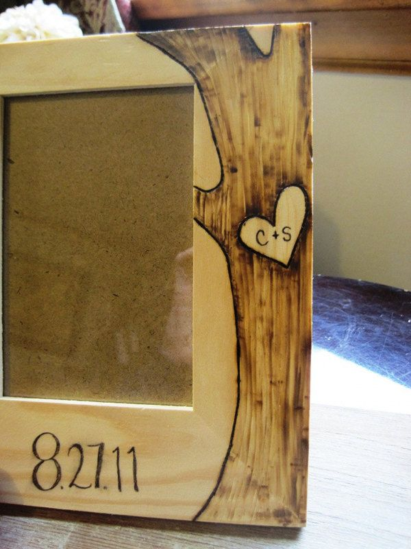 custom engraved wood picture frame green bride guide