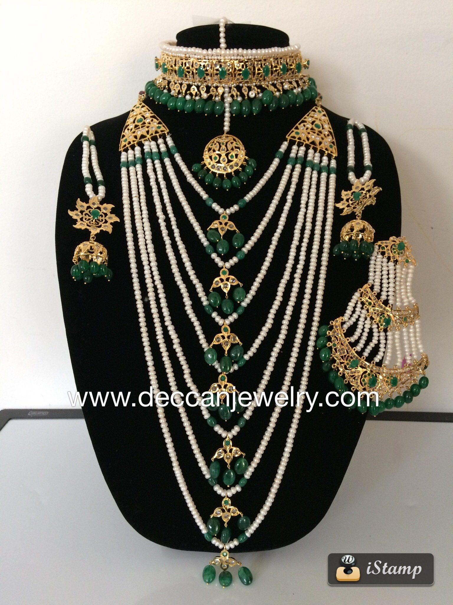 44cf10e5a0bca Insia Hyderabadi traditional bridal set in real pearls and emerald ...