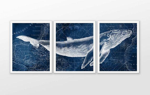 Humpback Whale On Nautical Map Watercolor Art Poster Set Of 3 Whale Art Print Humpback Whale Poster Watercolor Art Posters Whale Wall Art Whale Art Print