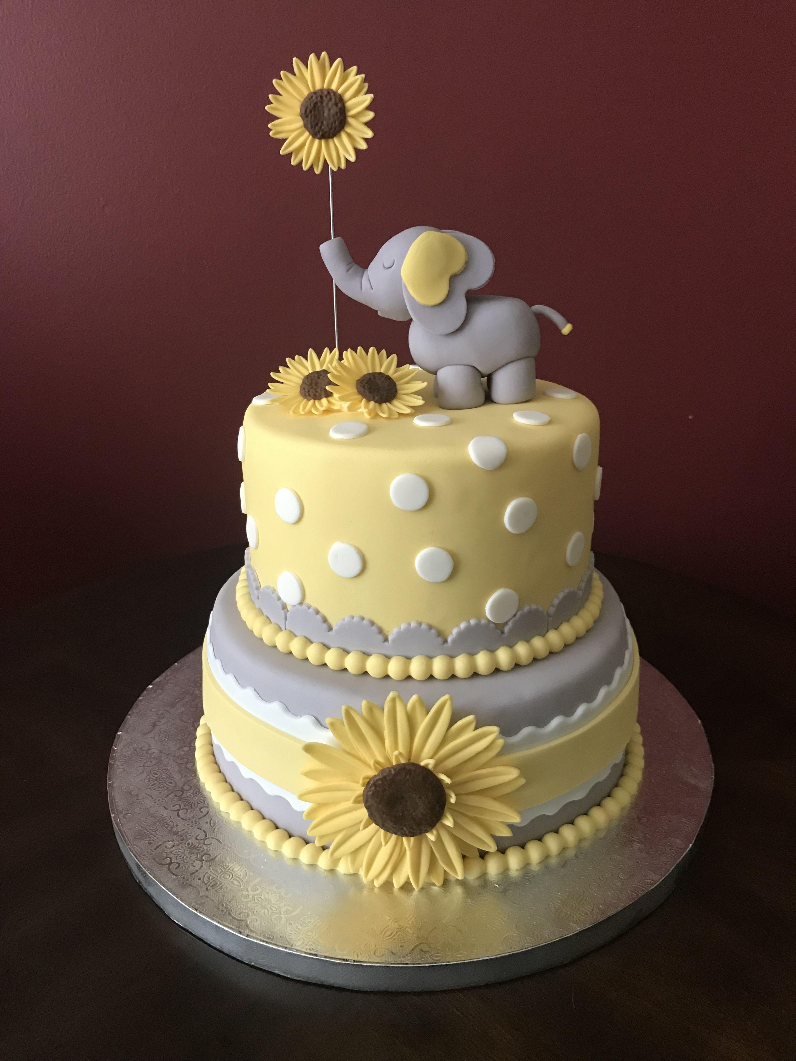 Elephant And Sunflower Baby Shower Cake