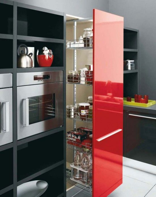 Black And White Cabinets  Red Island Kitchen Design Red Black Color Scheme If You Are Looking For Some Sample Cabinet White Home Decor Pinterest Granite Pantry