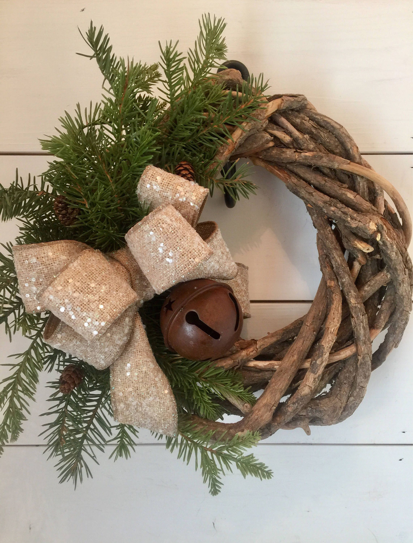 Christmas wreath, rustic christmas wreath, bell wreath