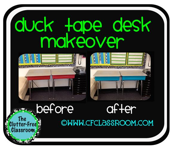 Clutter-Free Classroom duct tape on desks
