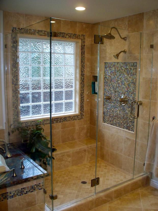 Traditional Bathroom With Small Brown And Tan Tile Wall