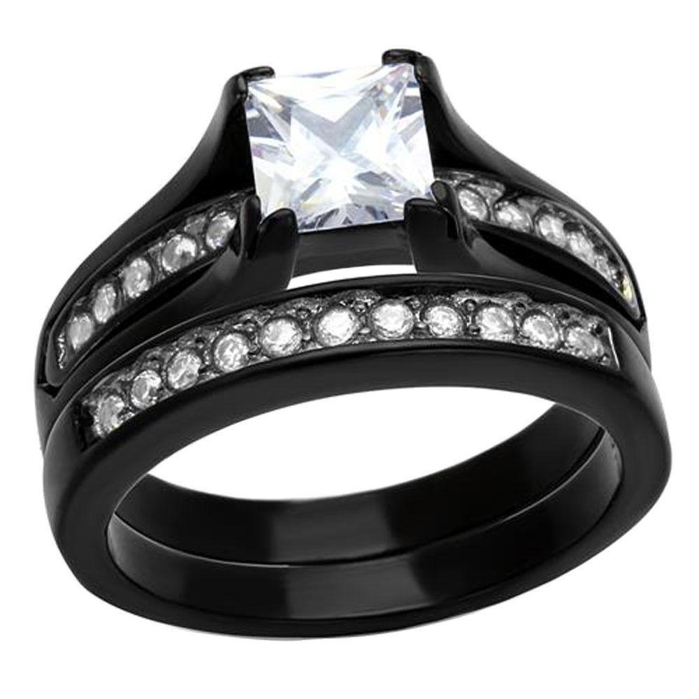 Black Stainless Steel White Princess Cubic Zirconia Women Wedding Ring Set 125 Ct Size 5