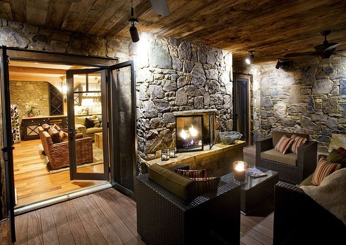 Two Sided Gas Fireplace Indoor Outdoor.