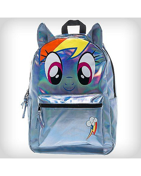 43aa952fd1 3D Holographic Rainbow Dash My Little Pony Backpack - Spencer s ...