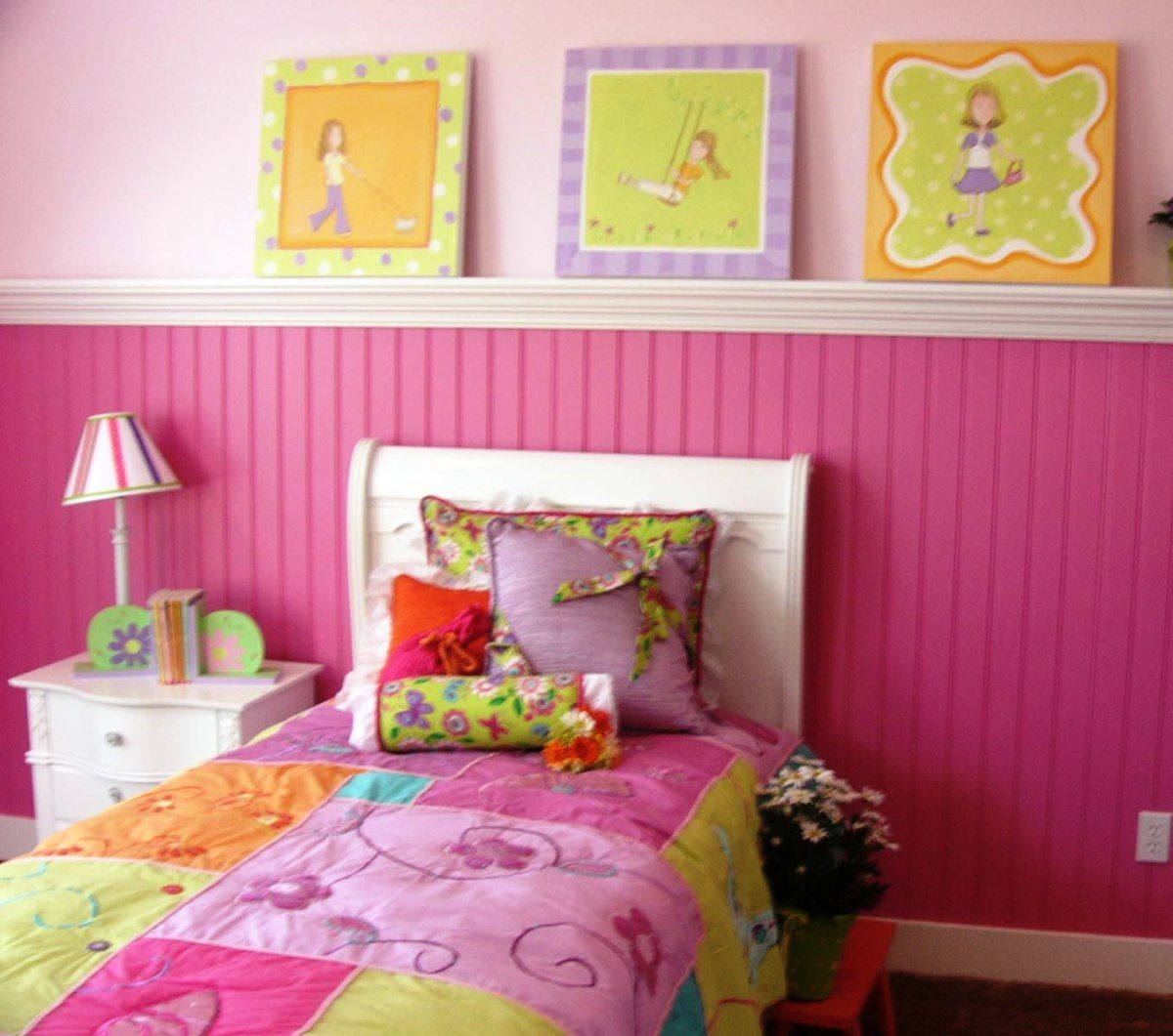 Pink Teen Girls Room Decor Ideas With Contemporary White Wood Bed Frame  That Have Beautiful Pattern