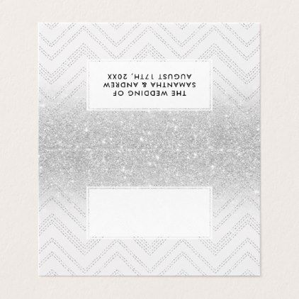 Silver glitter ombre chevron geometric pattern place card Place card