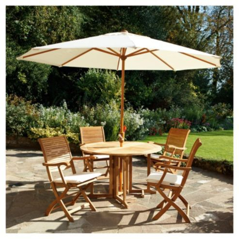 Dorney Teak 4 Seat Set Dressed inc Parasol | Patio/garden | Pinterest