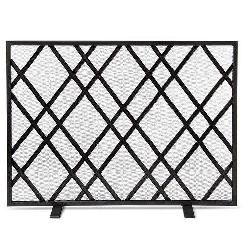 Lattice Fireplace Screen Matte Black Finish Threshold