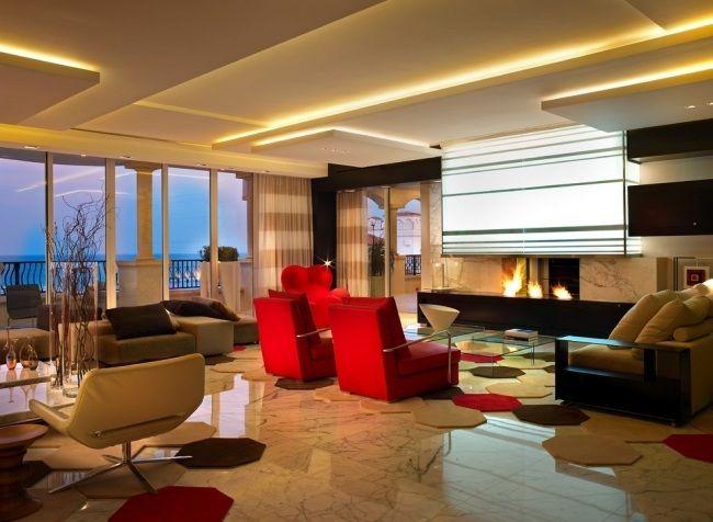 indirekte deckenbeleuchtung 3d effekte wohnzimmer gaskamin