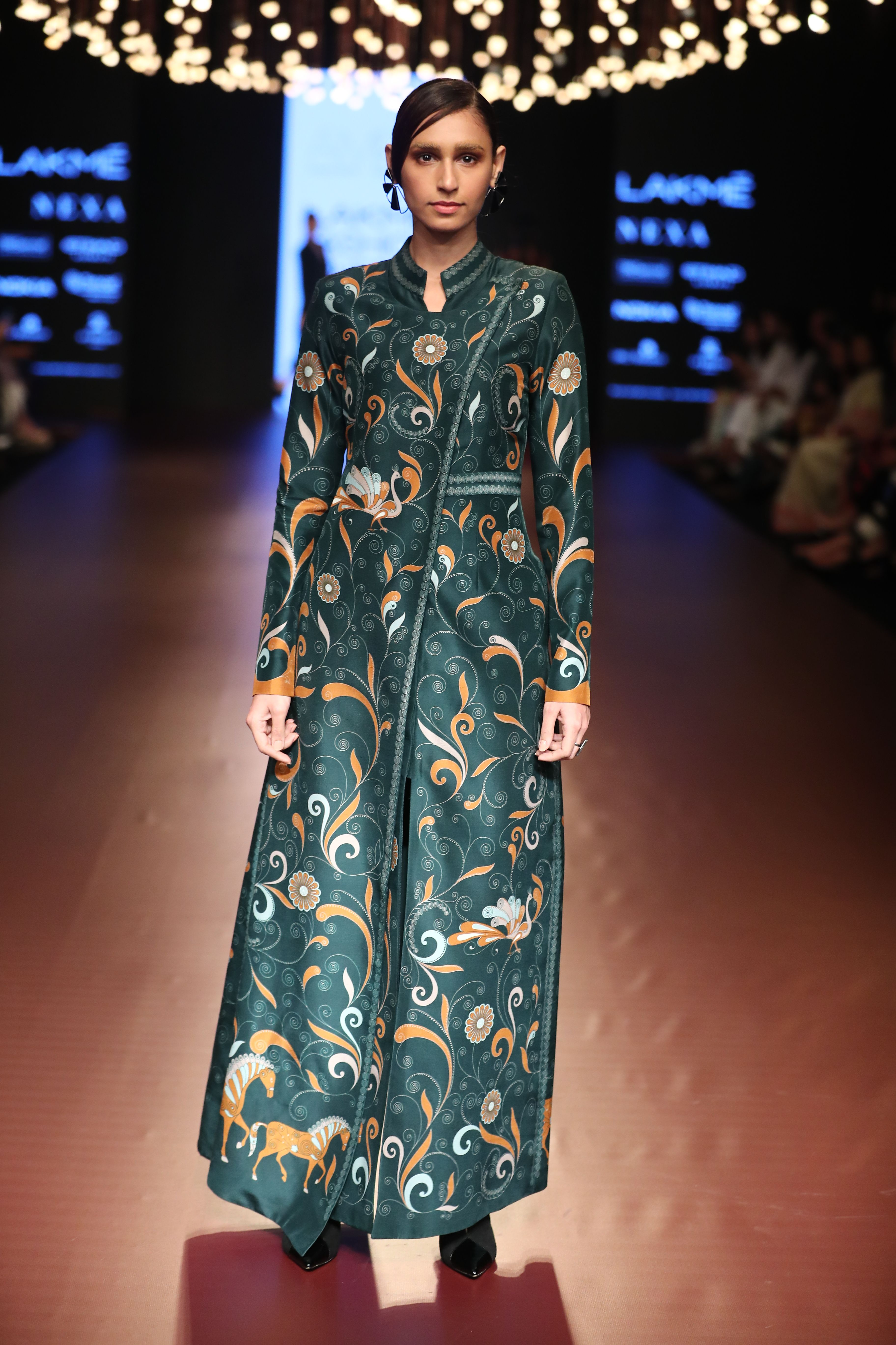7337d9e347ae Silk long jacket in multicolor digital print paired with forest green silk  fitted pants. lakme fashion week 2018 collection lfw2018 gypset collection  2018