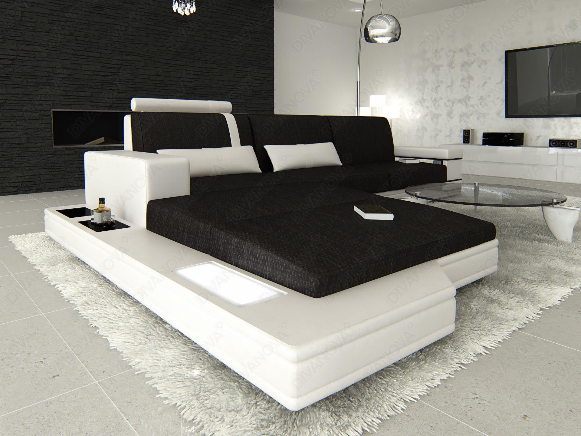 proxima - divano angolare a 3 posti con penisola, in tessuto ... - Ampio Divano Ad Angolo In Tessuto Grigio Bianco