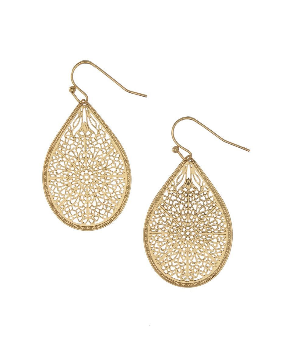 214eb210c Another great find on #zulily! Matte Goldtone Filigree Teardrop Earrings by  #zulilyfinds