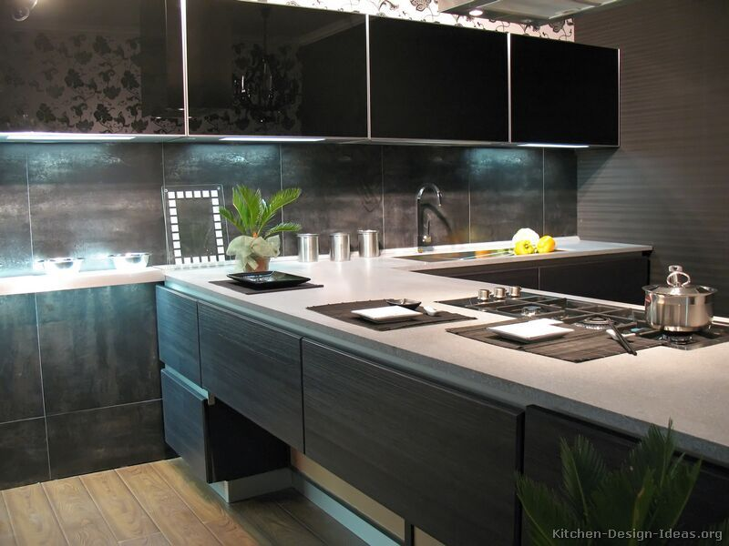 Modren Cabinets Kitchen Modern Of The Day Dark Wood With Tinted Glass Upper Decor