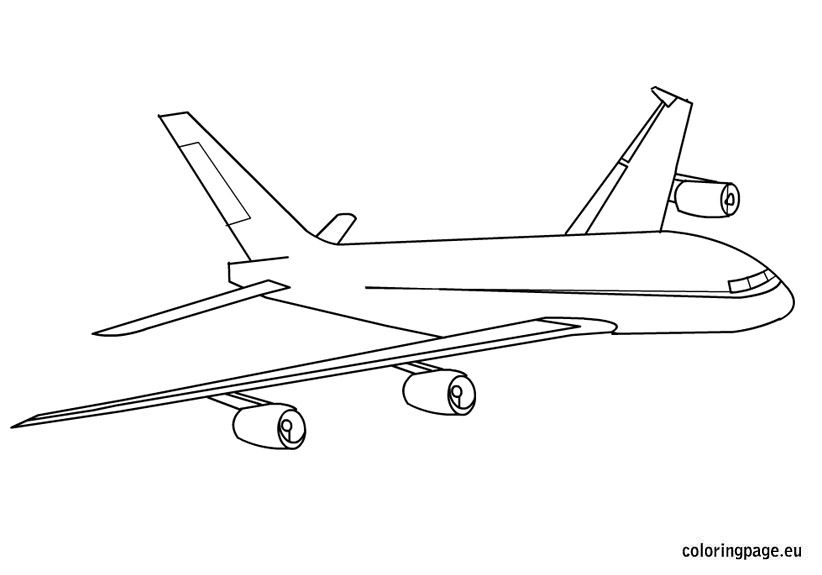 Airplane Flying In Sky Coloring Page