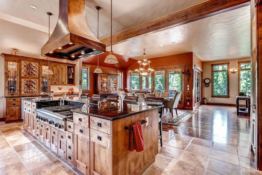 Rustic Open Concept Kitchen With Island Range And Custom Cabinetry Rustic Kitchen Design Dream Kitchens Design Rustic Home Decor Cheap