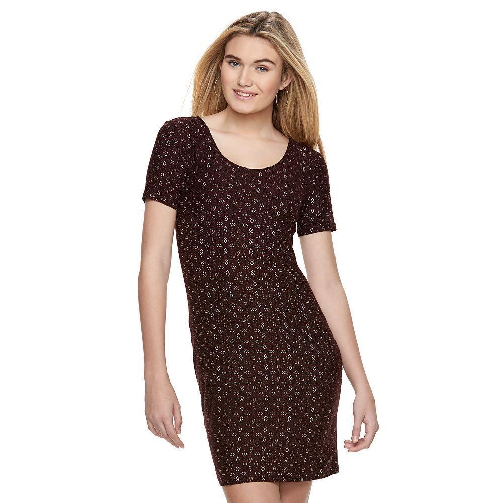 Juniorsu muddshort sleeve bodycon dress teens size xl dark red