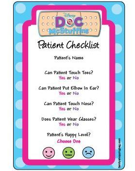 Patient Check List Doc Mcstuffins Birthday Party 4th Parties Themed