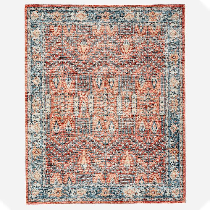 Distressed Nadine Made To Order Rug Cayenne 5 X8 West Elm In 2020 Rugs Screenprinted Pattern Abstract Rug