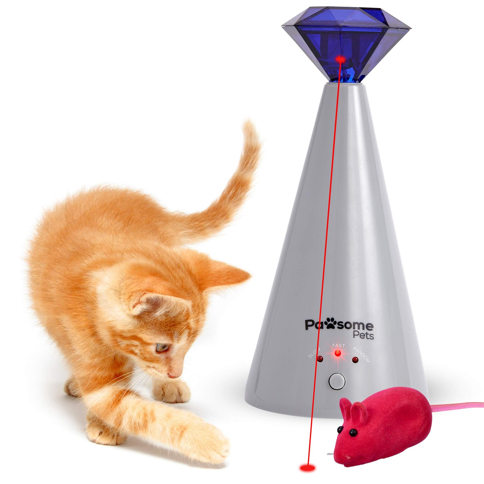 Pawsome Pets Interactive Laser Cat Toy Automatic Rotating Laser Pointer For Kittens Dogs 3 Speed Modes Great For Pet In 2020 Cat Laser Toy Cat Toys Cat Toy Mouse
